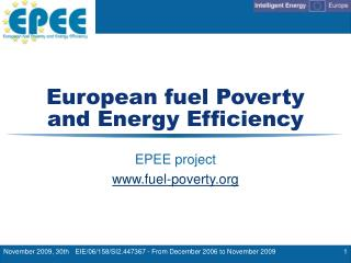 European fuel Poverty and Energy Efficiency