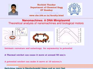 Nanomachines: A DNA Miniplasmid Theoretical analysis of nanomachines and biological motors