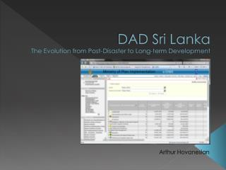 DAD Sri Lanka The Evolution from Post-Disaster to Long-term Development
