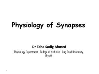 Physiology of Synapses