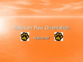 Platinum Paw Orientation