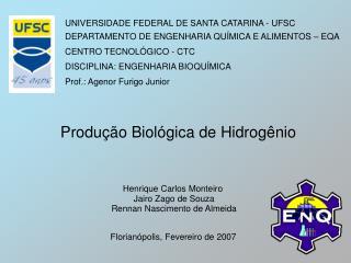 UNIVERSIDADE FEDERAL DE SANTA CATARINA - UFSC DEPARTAMENTO DE ENGENHARIA QUÍMICA E ALIMENTOS – EQA