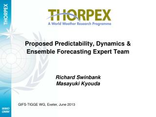 Proposed Predictability, Dynamics & Ensemble Forecasting Expert Team