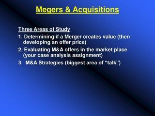 Megers & Acquisitions