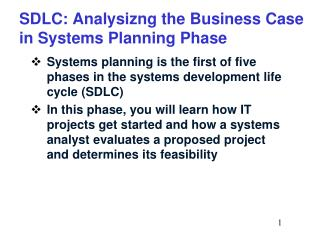 SDLC: Analysizng the Business Case in Systems Planning Phase