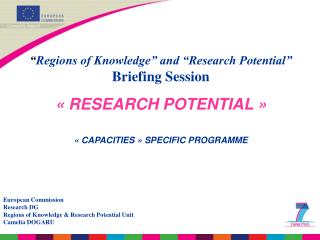 """ Regions of Knowledge"" and ""Research Potential"" Briefing Session « RESEARCH POTENTIAL »"