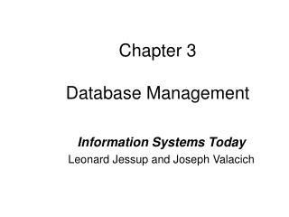 Chapter 3  Database Management