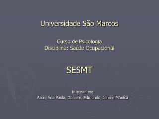 Universidade São Marcos Curso de Psicologia Disciplina: Saúde Ocupacional SESMT