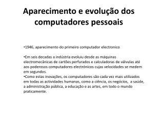 Aparecimento e evolução dos computadores pessoais