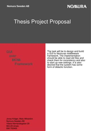 Thesis Project Proposal,