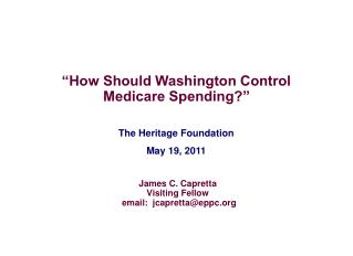 The Heritage Foundation May 19, 2011