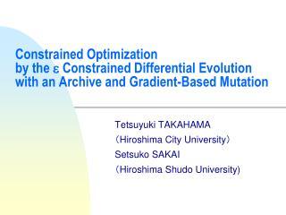 Tetsuyuki TAKAHAMA ( Hiroshima City University ) Setsuko SAKAI ( Hiroshima Shudo University)