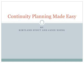 Continuity Planning Made Easy
