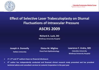 Effect of Selective Laser Trabeculoplasty on Diurnal Fluctuations of Intraocular Pressure ASCRS 2009  Richard A. Luck, D