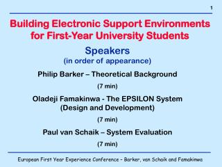 Building Electronic Support Environments for First-Year University Students