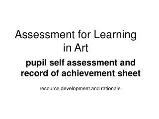 Assessment for Learning in Art