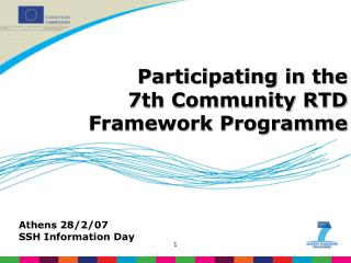 Participating in the  7th Community RTD Framework Programme