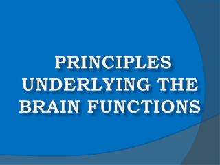PRINCIPLES UNDERLYING THE BRAIN FUNCTIONS