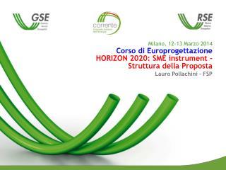 Preparare una Proposta sotto Horizon 2020