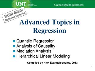 Advanced Topics in Regression
