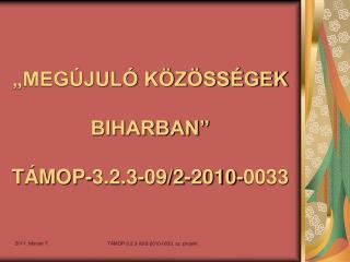 """""""MEGÚJULÓ KÖZÖSSÉGEK BIHARBAN"""" TÁMOP-3.2.3-09/2-2010-0033"""