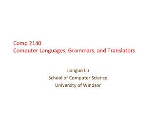 03-60-214  Computer Languages, Grammars, and Translators