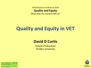 Quality and Equity in VET