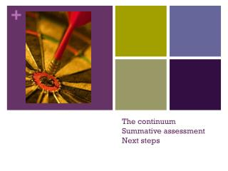The continuum Summative  assessment Next steps