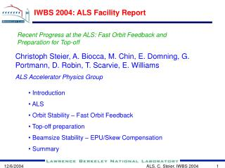 IWBS 2004: ALS Facility Report
