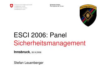 ESCI 2006: Panel Sicherheitsmanagement