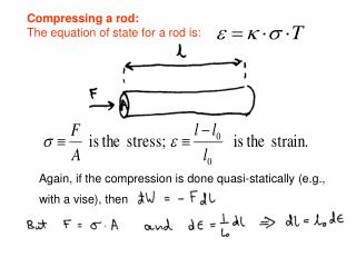 Compressing a rod: The equation of state for a rod is:
