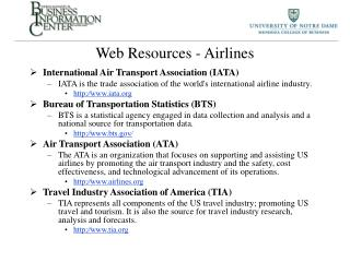 Web Resources - Airlines