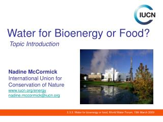 Water for Bioenergy or Food?