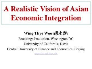 A Realistic Vision of Asian Economic Integration