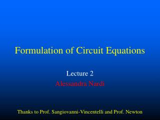 Formulation of Circuit Equations