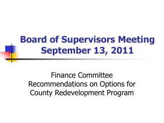 Board of Supervisors Meeting September 13, 2011