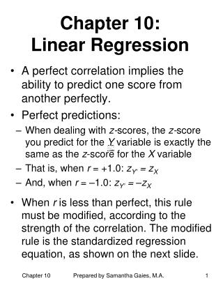 Chapter 10:  Linear Regression