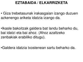 EZTABAIDA / ELKARRIZKETA