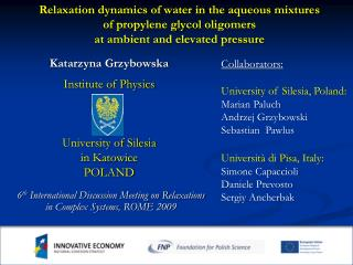 6 th  International Discussion Meeting on Relaxations in Complex Systems , ROME 2009