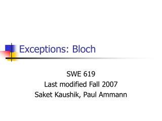 Exceptions: Bloch
