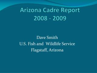 Arizona Cadre Report  2008 - 2009