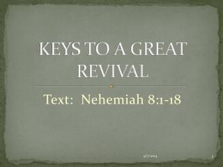 KEYS TO A GREAT REVIVAL