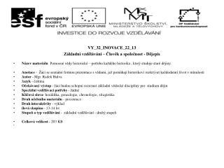 VY_32_INOVACE_22_13 Základní vzdělávání – Člověk a společnost - Dějepis