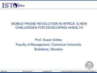 MOBILE PHONE REVOLUTION IN AFRICA  & NEW CHALLENGES FOR DEVELOPING mHEALTH