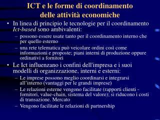 ICT e le forme di coordinamento                    delle attività economiche