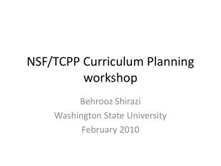 NSF/TCPP Curriculum Planning workshop