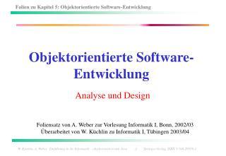 Objektorientierte Software-Entwicklung