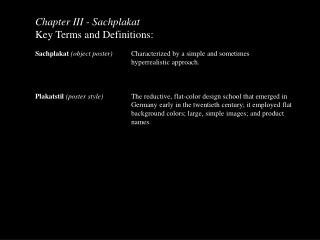 Chapter III -  Sachplakat Key Terms and Definitions: