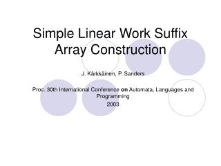 Simple Linear Work Suffix Array Construction
