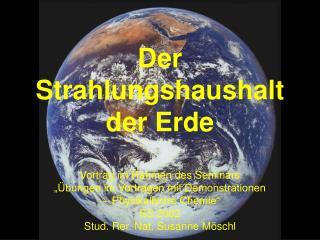 Der Strahlungshaushalt der Erde